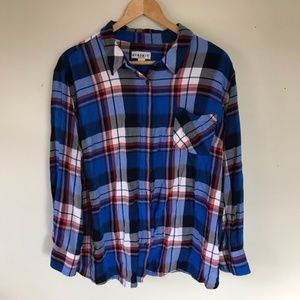 Ava & Viv Blue Red Plaid Long Sleeve Button Shirt
